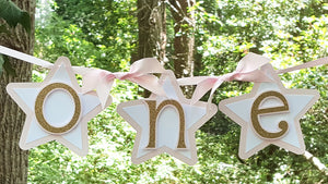 "Pink and Gold Star 1st Birthday ""One"" Highchair Banner, Twinkle Twinkle Little Star Theme Party. Handcrafted in 3-5 Business Days"