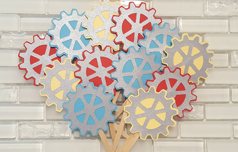 Robot Gears Cupcake or Food Toppers in Red, Yellow,  Aqua Blue, and Silver for Birthday or Baby Shower. Handcrafted in 3-5 Business Days