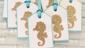 Gold Seahorse Hang Tag Set in Peach Pink, Aqua and Gold for Birthday or Baby Shower