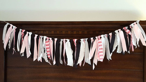 Ribbon Banner, Ribbon Garland, Highchair Garland, Photo Prop or Party Backdrop, Pink, Black, and White Party Decorations. READY TO SHIP