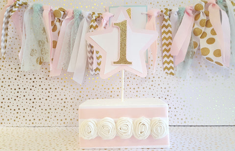 Pink and Gold Star Cake Topper or Smash Cake Topper, Pink and Gold Theme Birthday, Customizable Number, Handcrafted in 3-5 Business Days