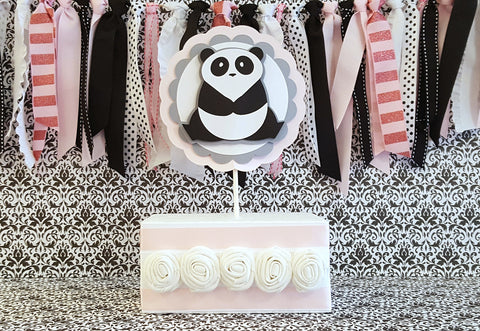 Panda Bear Cake Topper or Smash Cake Topper in Pink, Gray, and Black, Panda Birthday or Shower Theme, Handcrafted in 3-5 Business Days
