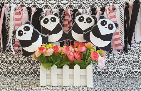 Panda Bear Centerpiece Set or Table Decor in Gray, Black, and White, Panda Birthday, Panda Shower, Handcrafted in 3-5 Business Days