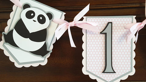 Panda Bear, 1st Birthday Pennant Highchair Banner or Photo Prop, Pink, Gray, and Black, Panda Birthday Party, First Birthday  READY TO SHIP