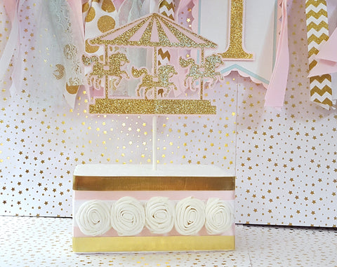 Pink and Gold Carousel Cake Topper or Smash Cake Topper, Birthday or Baby Shower Decor, Handcrafted in 3-5 Business Days