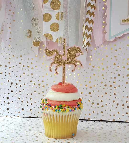 Pink and Gold Carousel Cupcake Toppers or Food Picks, Pink, Mint, Gold Carousel, Carousel Party Decoration, Handcrafted in 3-5 Business Days