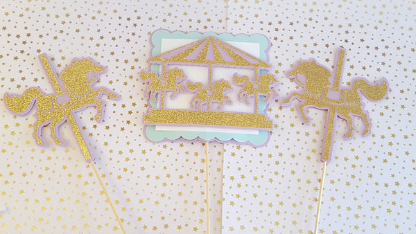 Lavender and Gold Carousel Centerpiece Set or Table Decor for Birthday or Baby Shower, Handcrafted in 3-5 Business Days