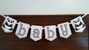 Panda Bear Pennant Baby Banner or Photo Prop in Pink, Gray, and Black, Baby Girl, Panda Baby Shower Banner, Handcrafted in 3-5 Business Days