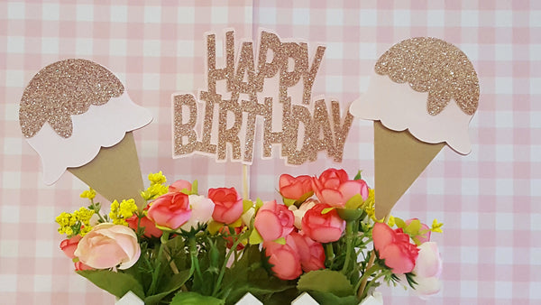 Ice Cream Party, Happy Birthday Centerpiece Set or Table Decor in Pink Glitter for Ice Cream Social, Handcrafted in 3-5 Business Days