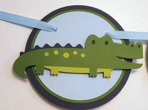 Friendly Alligator Happy Birthday Banner or Name Banner, Navy Blue and Green, Customizable Text Options, Handcrafted in 3-5 Business Days
