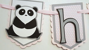 Panda Bear Happy Birthday Pennant Banner or Photo Prop in Pink, Black and Gray for Birthday or First Birthday, OOAK, READY To SHIP