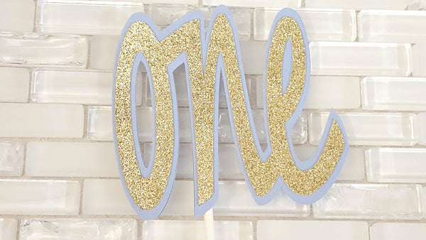 One, First Birthday Cake Topper or Smash Cake Topper in Baby Blue and Gold for Circus or Little Star Theme, Handcrafted in 3-5 Business Days