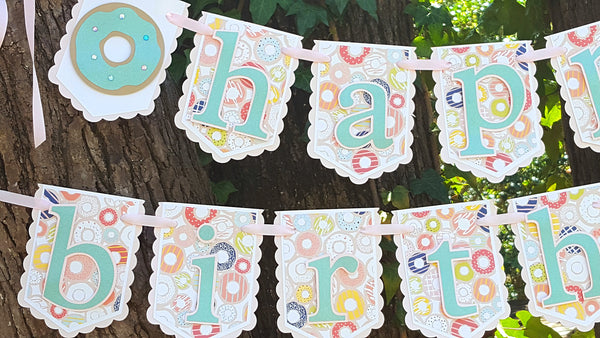 Donut Shop Birthday Banner or Name Banner, Pink and Light Blue Donuts, Customizable Banner, Handcrafted in 3-5 business days