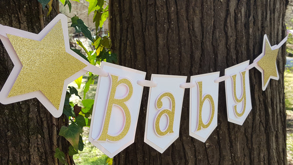 Pink and Gold Pennant Baby Banner, Twinkle Twinkle Little Star Theme, Handcrafted in 3-5 Business Days