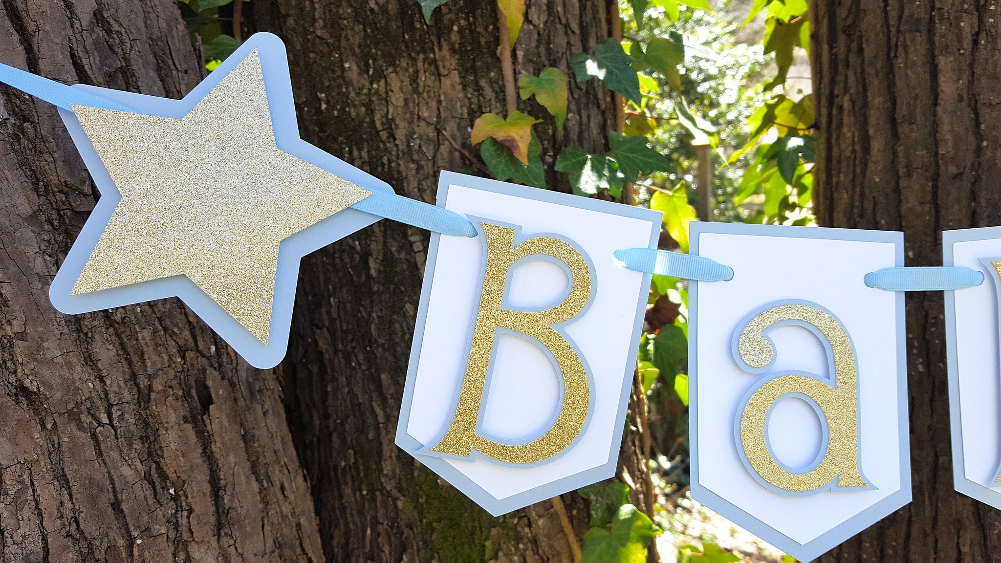 Baby Blue and Gold Pennant Baby Banner, Twinkle Twinkle Little Star Theme, Handcrafted in 3-5 Business Days