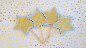 Baby Blue and Gold Star Cupcake Toppers for Birthday or Baby Shower, Twinkle Twinkle Little Star Theme. Handcrafted in 3-5 Business Days