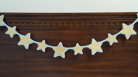 Baby Blue and Gold Stars Garland for Twinkle Twinkle Little Star Theme Birthday Party or Baby Shower, Handcrafted in 3-5 Business Days
