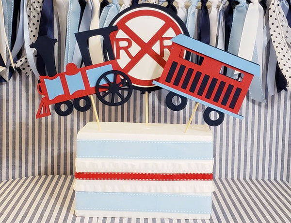 Choo Choo Train Centerpiece Set or Table Decor in Red and Navy Blue for Birthday or Baby Shower. Handcrafted in 3-5 Business Days