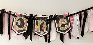 One or Two,  Pink, Black & Gold Floral Highchair Birthday Banner or Photo Prop, Black and Gold Party Theme, Handcrafted in 3-5 Business Days