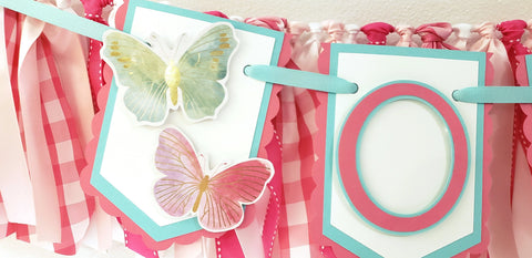 "Rainbow Butterflies Birthday Banner or Photo Prop, ""One"" or ""Two"" Banner, Pink, Aqua and Gold Butterflies, Handcrafted in 3-5 Business Days"