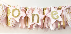 "Pink and Gold Star Birthday Highchair Banner, ""One"" or ""Two"" Banner, Twinkle Twinkle Little Star Party, Handcrafted in 3-5 Business Days"