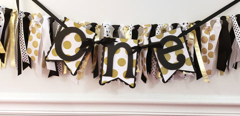 "Black and Gold Polka Dot Pennant Highchair Birthday Banner or Photo Prop, ""One"" or ""Two"" Banner, Handcrafted in 3-5 Business Days"