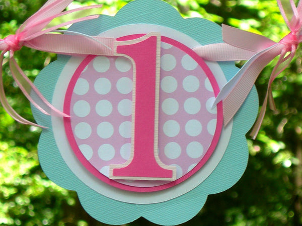 Little Bird Highchair Birthday Banner or Photo Prop in Pink and Light Blue with Customizable Number. Handcrafted in 3-5 Business Days