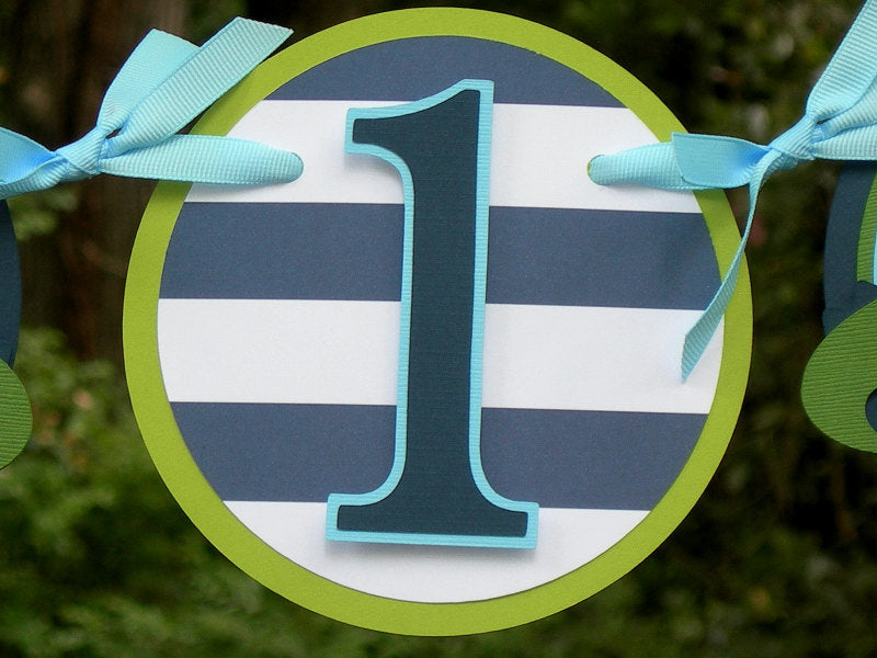 Alligator Highchair Birthday Banner or Photo Banner in Navy Blue and Green with Customizable Number. Handcrafted in 3-5 Business Days