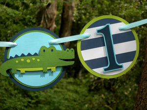 I am 1 Alligator Birthday Banner or Photo Prop in Navy Blue and Green with Customizable Number. Handcrafted in 3-5 Business Days