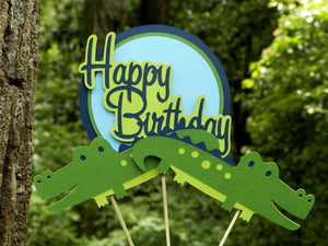 Friendly Alligator Centerpiece Set or Table Decor in Navy Blue and Green for Birthday or Baby Shower. Handcrafted in 3-5 Business Days