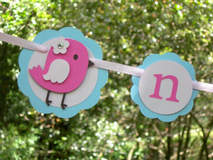 Little Bird First Year, 1st Birthday Photo Banner or Photo Display in Pink and Light Blue. Handcrafted in 3-5 Business Days