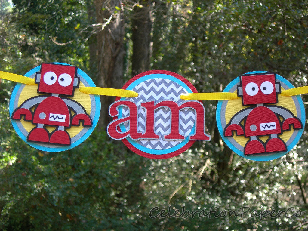 I am 1 Robot Birthday Banner or Photo Prop in Red, Yellow, and Aqua Blue with Customizable Number, Handcrafted in 3-5 Business Days