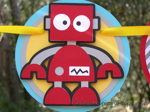 Robot Happy Birthday Or Name Banner in Red, Yellow, Silver and Blue. Customizable Text Options. Handcrafted in 3-5 Business Days