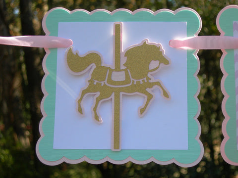 Carousel Horse Theme, Happy Birthday or Name Banner in Pink, Mint and Gold with Customizable Text.  Handcrafted in 3-5 business days
