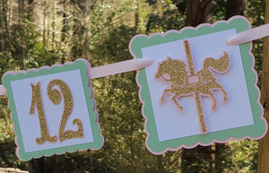 Golden Carousel First Year, 1st Birthday Photo Banner or Photo Display in Pink, Mint, and Gold. Handcrafted in 3-5 Business Days