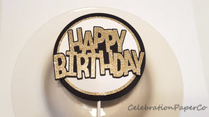 Black and Gold Happy Birthday Cake Topper or Smash Cake Topper for Black and Gold Theme Party. Handcrafted in 3-5 Business Days