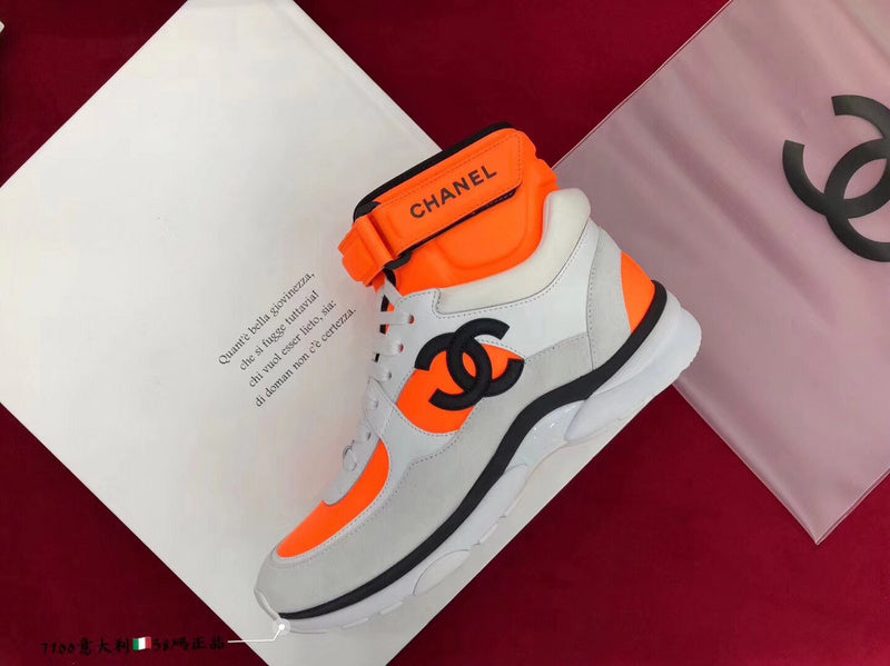 "CC SS18 Sneakers Fabric, Lambskin & Suede Calfskin ""White/Orange"" G33728 Y52847 K0727"