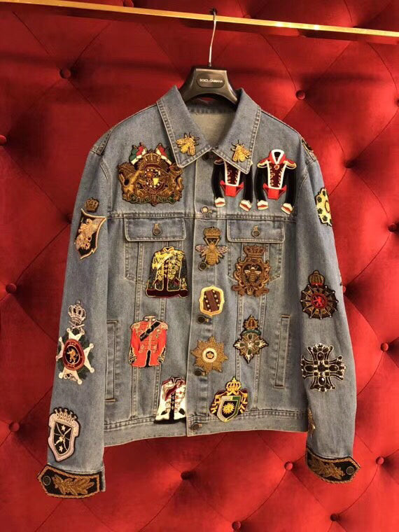 DG Embroidered Military Denim Jacket With Patches