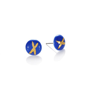 Blue domed studs X