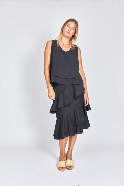 Solito Marseille Ruffle Skirt Black