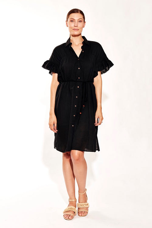 SUNDRENCH SHIRT DRESS BLACK