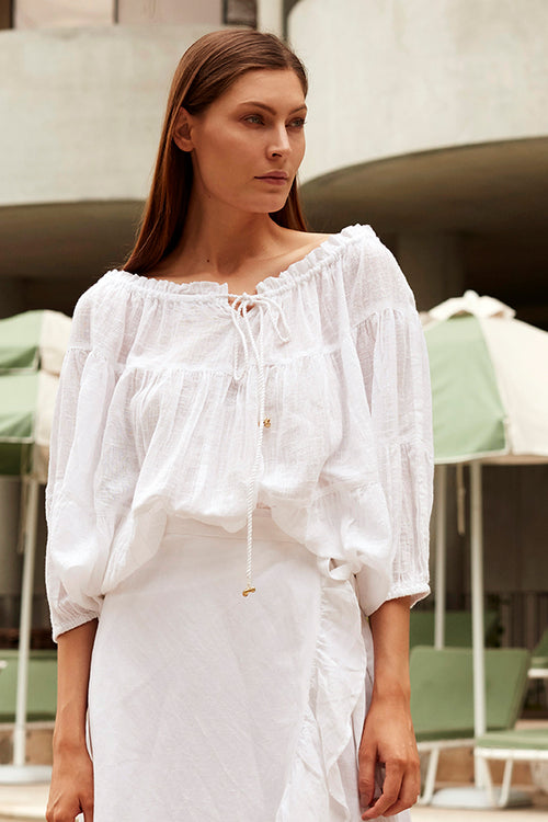 SUNDRENCH PONCHO WHITE