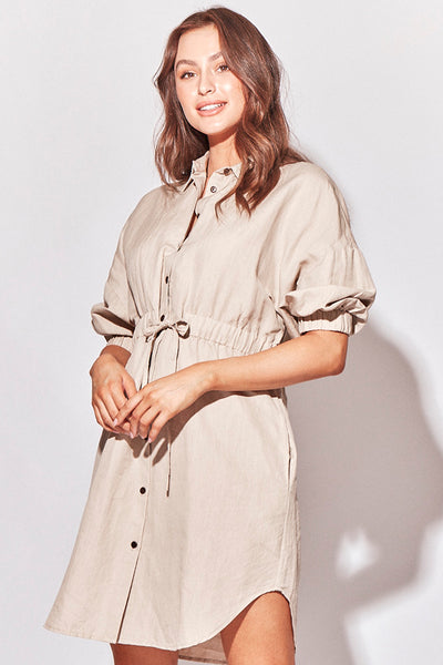 SALMA SHIRT DRESS - NATURAL