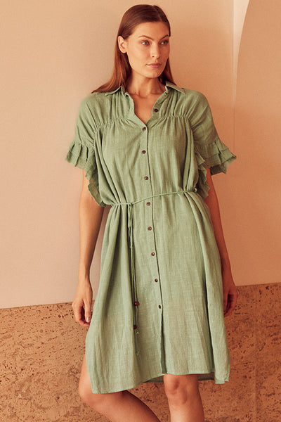 SUNDRENCH SHIRT DRESS MINT