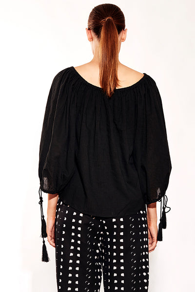SUNDRENCH TOP BLACK