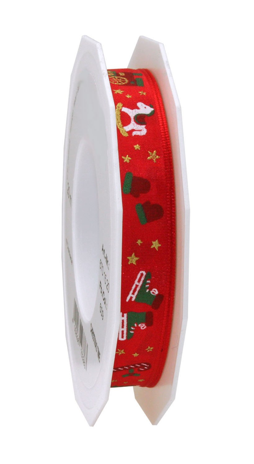 Christmas red printed ribbon