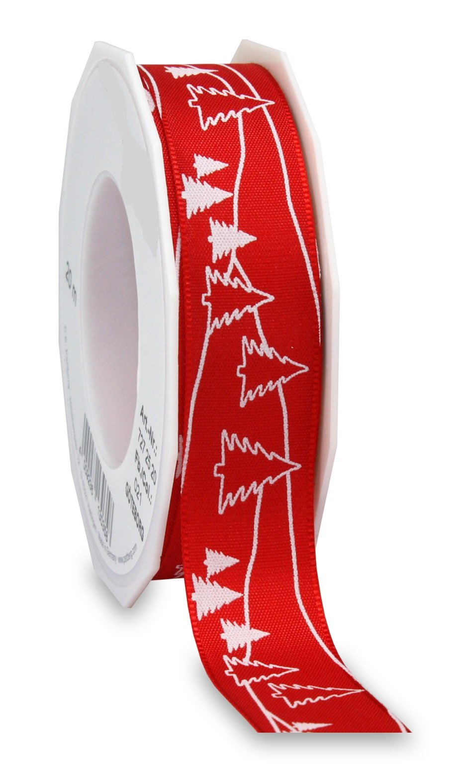 Christmas tree red printed ribbon