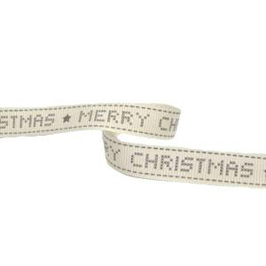Merry christmas cream printed ribbon