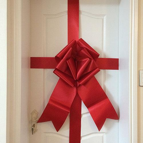 red giant door bow big bow cherry ribbon