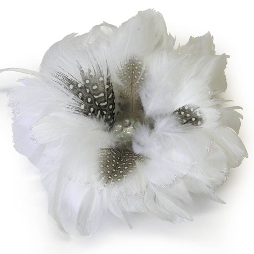 Luxe Feather Rosette-White-1pc (RRP $6.32)